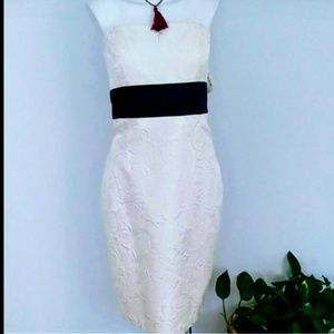 Kay Unger strapless cream dress nwt